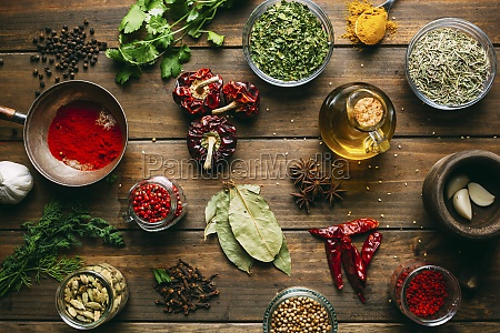 assorted spices and herbs and bottle