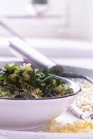 gremolata with lemon zest parsley and