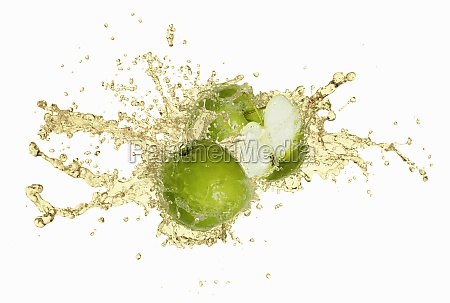 green apples with an apple juice