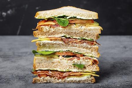 sandwich with cheese ham prosciutto fresh