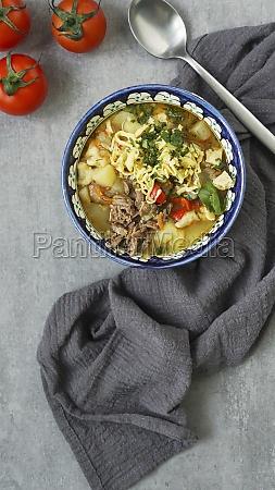 manpar soup with pasta traditional soup
