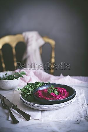 beetroot hummus on plate
