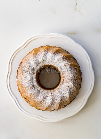 marble cake with powdered sugar top