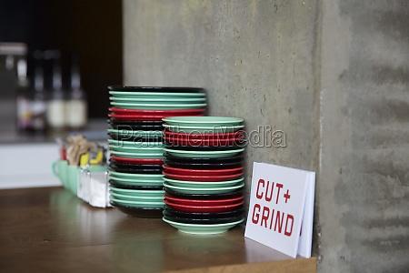 coloured plates in restaurant