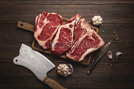 raw rib eye steak a t