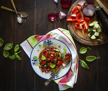 ratatouille with red peppers aubergine courgette