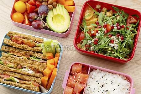 creative layout with healthy lunch dishes
