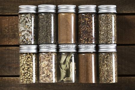 various spice mixtures cinnamon lime leaves