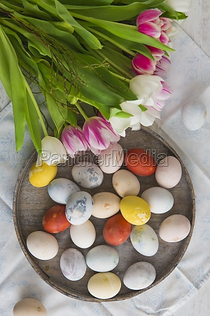 colourful easter eggs on a plate