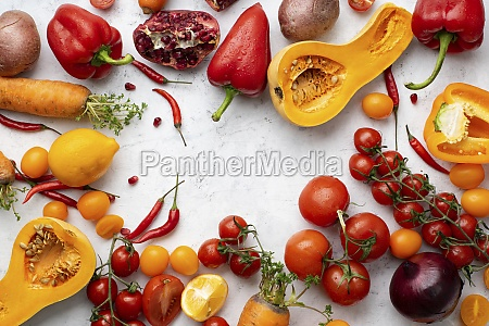 flatlay with colorful vegetables arranged on