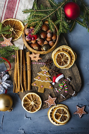 christmas cookies and spices concept