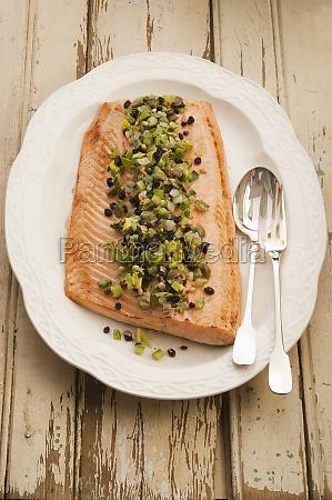 roast salmon sicilian style