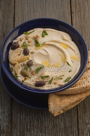 white bean hummus with olives