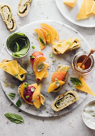 cheese appetizers with peaches mint and