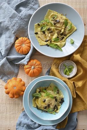 ravioli with pumpkin and ricotta