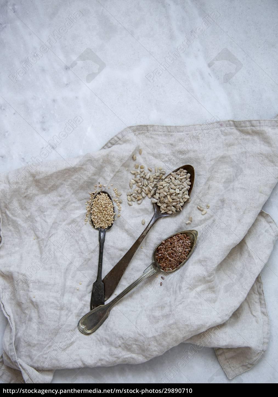 sesame, , sunflower, , flax, seeds, on, marble - 29890710