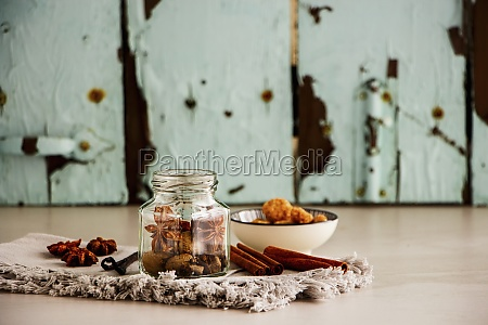 various spice on a cloth and