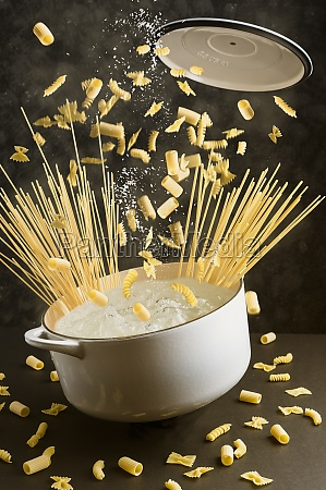 various types of pasta falling into