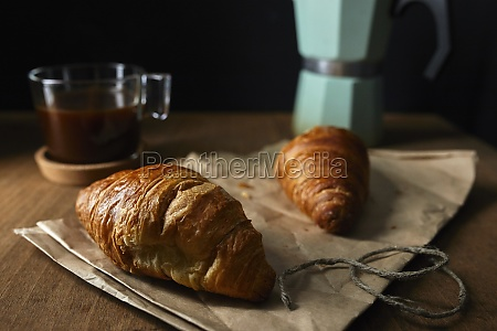 fresh croissants with coffee