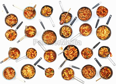 a collage of pasta pans with