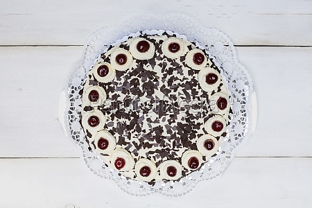whole black forest cake top view