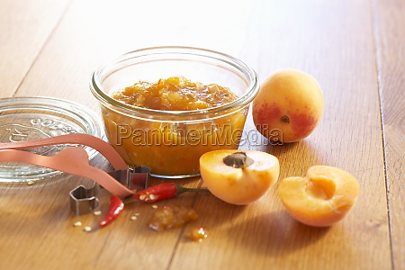 apricot and ginger chutney with fresh