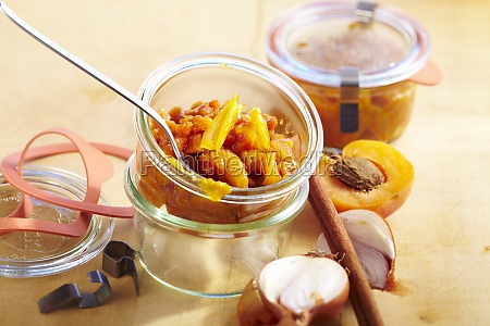 pumpkin and apricot chutney with shallots
