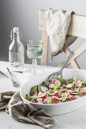 watermelon radish mint and feta cheese