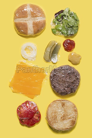 different ingredients of a cheese burger