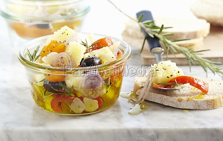 pickled manchego with peppers shallots olives