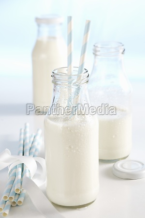 cold fresh milk in bottles with