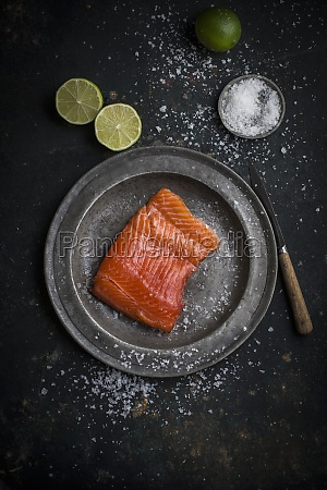 raw salmon fillet with sea salt