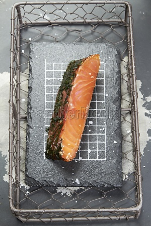 smoked salmon in a grill basket