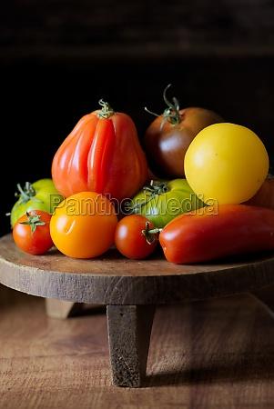 tomato still life with buffalo heart
