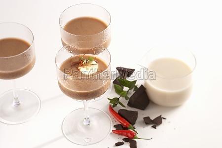 cold banana chocolate shake with chili