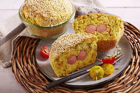vegetable and sausage bread baked in