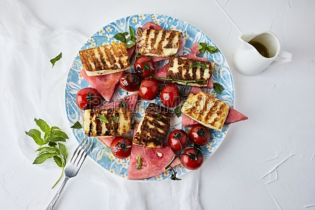 watermelon grilled halloumi and cherry tomato