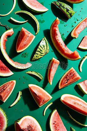 flatlay with slices of watermelon