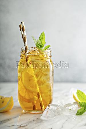 homemade refreshing sweet iced tea with