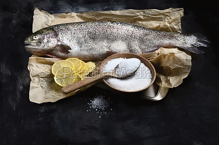 whole fresh salmon trout with salt