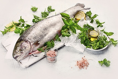 whole fresh trout with fresh herbs