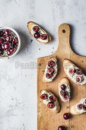 bruschetta with cherries mascarpone cream and