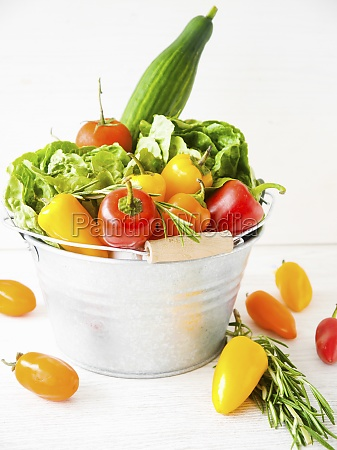 fresh vegetables and salad in a