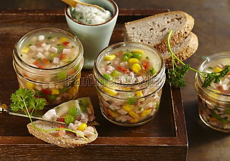ham stock in glasses with remoulade