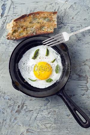 fried organic egg with fresh basil