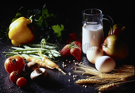still, life, with, milk, , eggs, , fruits, - 29892680