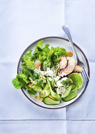 salad with cucumber peaches feta and