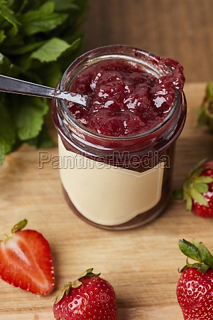 homemade strawberry jam in a jar