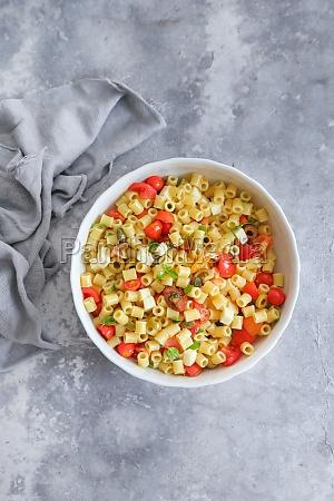 cold pasta with mozzarella cherry tomatoes