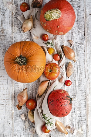 pumpkins shallots garlic and tomatoes